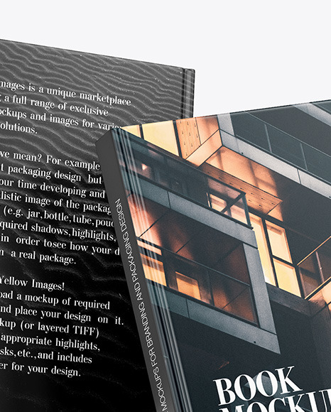 Two Hardcover Books w/ Matte Covers Mockup
