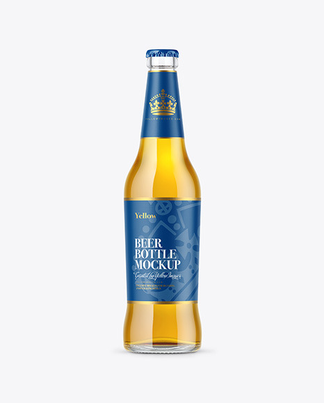 500ml Clear Glass Lager Beer Bottle Mockup