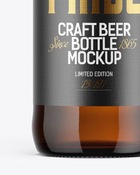 500ml Amber Craft Beer Bottle Mockup