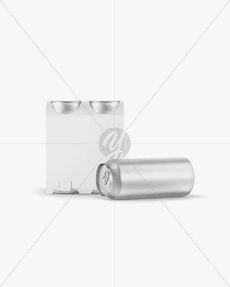 Carton Carrier W/ 4 Matte Metallic Cans Mockup