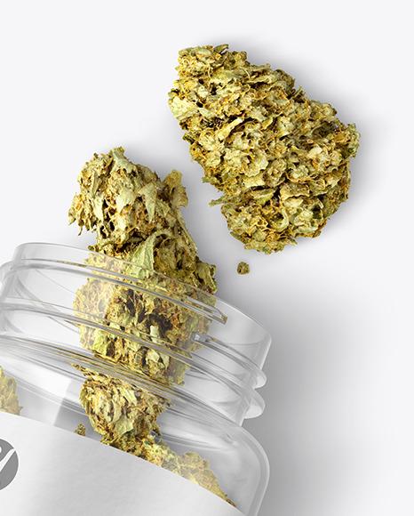 Clear Jar w/ Weed Buds Mockup