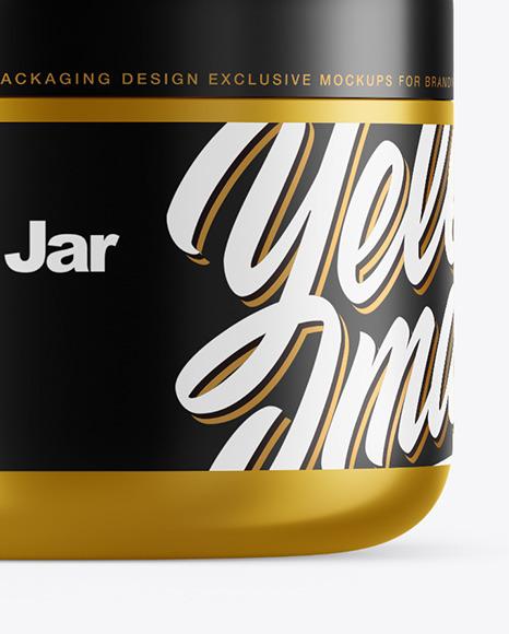 Metallic Cosmetic Jar with Box Mockup