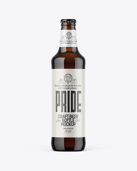 500ml Dark Amber Beer Bottle Mockup