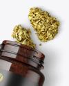 Amber Jar w/ Weed Buds Mockup
