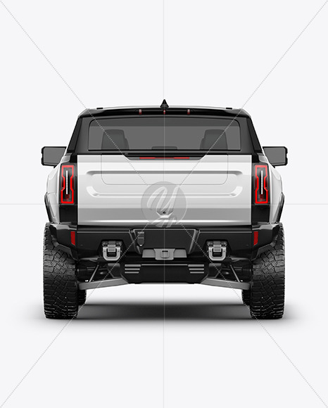 Electric Pickup Truck Mockup - Back View
