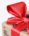 Kraft Paper Gift Box With Tied Bow Mockup