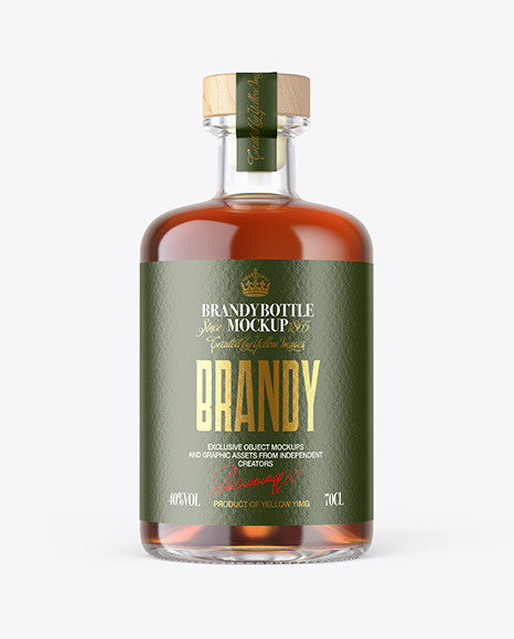 Brandy Bottle with Wooden Cap Mockup