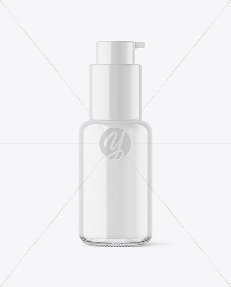 Clear Glass Cosmetic Bottle with Pump Mockup