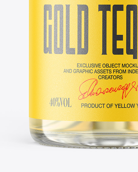 Gold Tequila Bottle with Wooden Cap Mockup