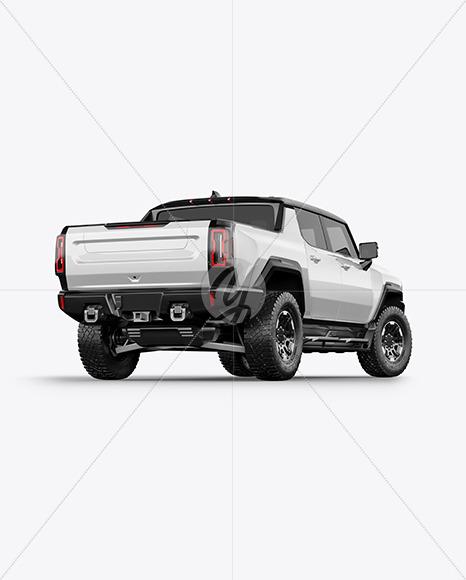 Electric Pickup Truck Mockup - Back Half Side View