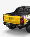 Electric Pickup Truck Mockup -  Back Half Side View (High-Angle Shot)