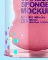 Glossy Plastic Tube w/ Makeup Sponge Mockup