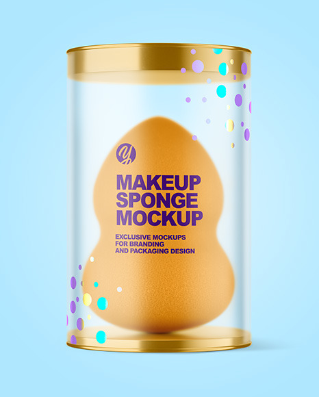 Matte Plastic Tube w/ Makeup Sponge Mockup