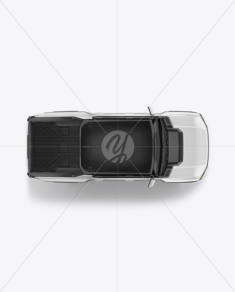 Electric Pickup Truck Mockup - Top View - Yellowimages Mockups
