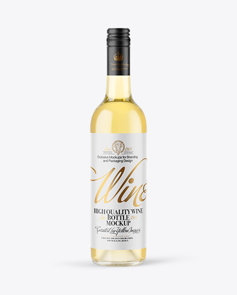 Clear Glass White Wine Bottle with Screw Cap Mockup
