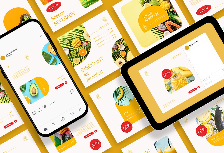 Fresh Food Ads Instagram Carousel Template