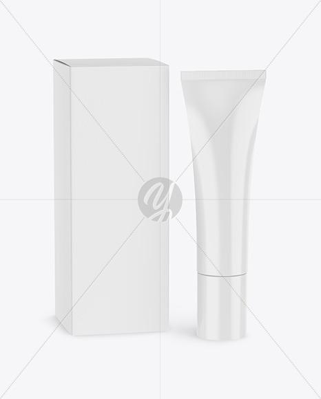 Glossy Cosmetic Tube w/ Box Mockup