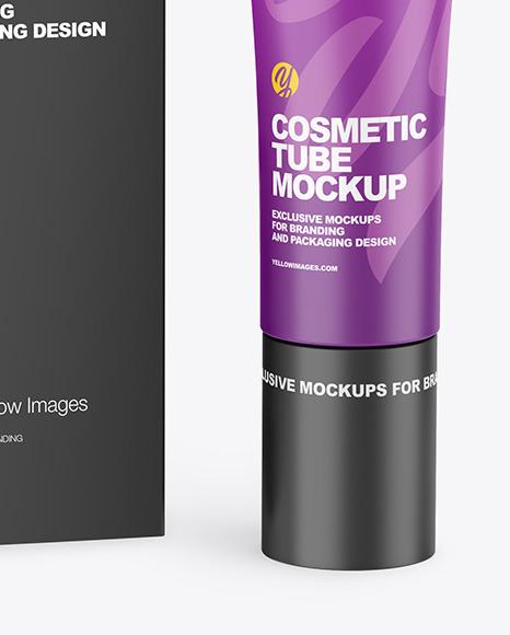 Matte Cosmetic Tube w/ Box Mockup