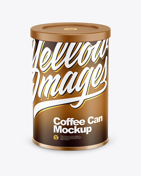 Coffee Tin Can with Matte Finish Mockup