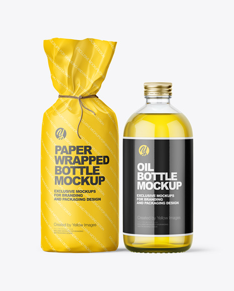 Glass Oil Bottle With Paper Wrapping Packaging Mockup