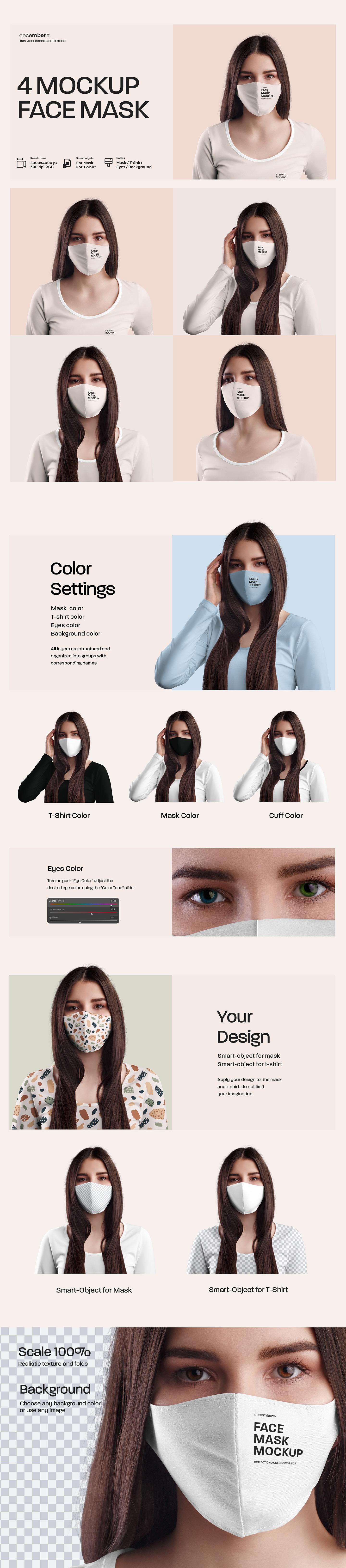 4 Mockups Face Mask