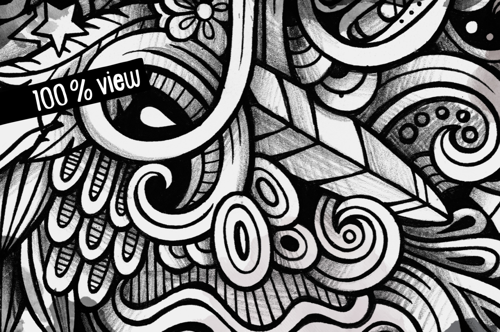 Hippie Graphic Doodle Illustration