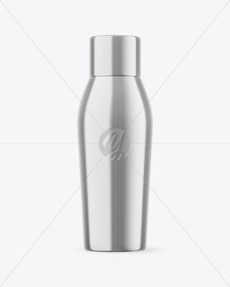 Glossy Metallic Bottle Mockup
