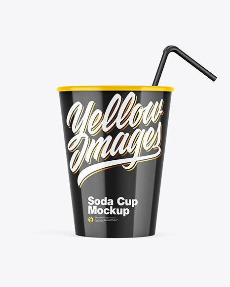 Glossy Soda Cup w/ Straw Mockup