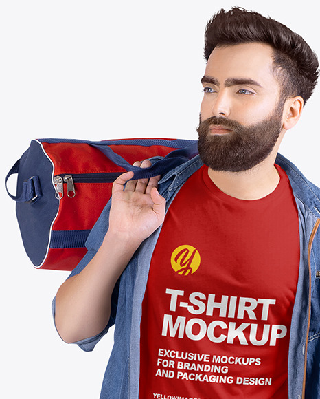Man w/ Bag in Crew Neck Shirt Mockup
