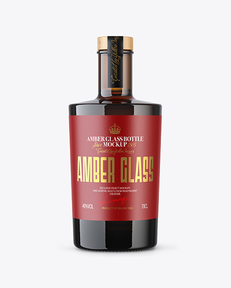 Amber Glass Bottle with Wooden Cap Mockup