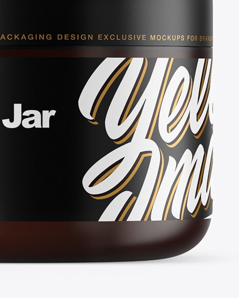 Frosted Amber Cosmetic Jar with Box Mockup