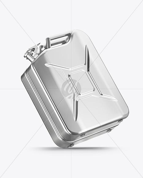 Metallic Fuel Jerrycan Mockup - Half Side View