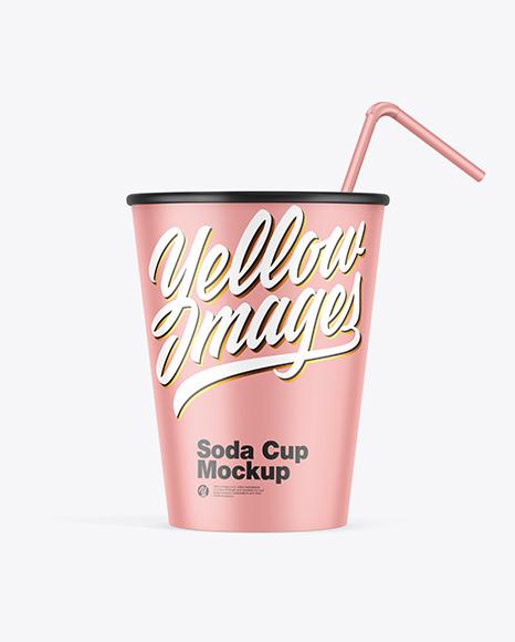 Matte Soda Cup w/ Straw Mockup