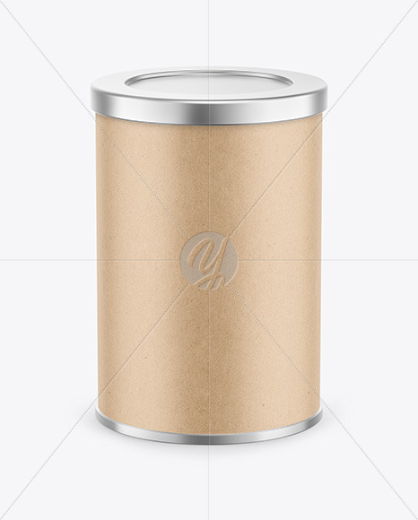 Coffee Tin Can with Kraft Finish Mockup