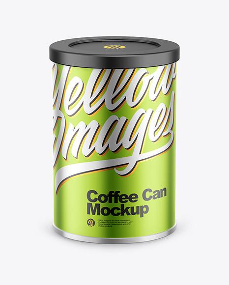 Coffee Tin Can with Matte Metallic Finish Mockup