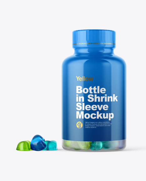 Frosted Bottle with Gummies Mockup