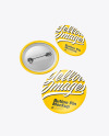 Three Matte Button Pins Mockup