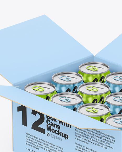 Box w/ Glossy Metallic Cans Mockup