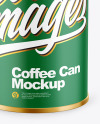 Coffee Tin Can with Paper Finish Mockup