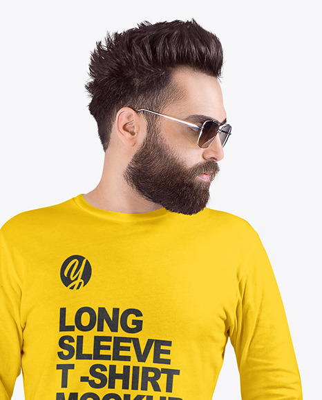 Man in Crew Neck Long Sleeve Shirt Mockup
