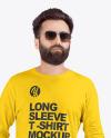 Man in Crew Neck Long Sleeve Shirt Mock