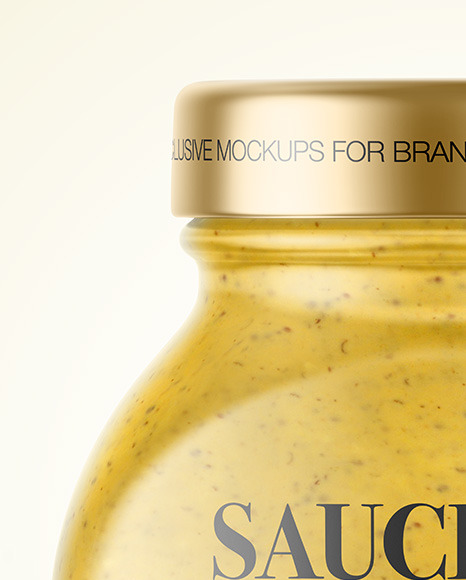 Glass Jar with Mustard Sauce Mockup