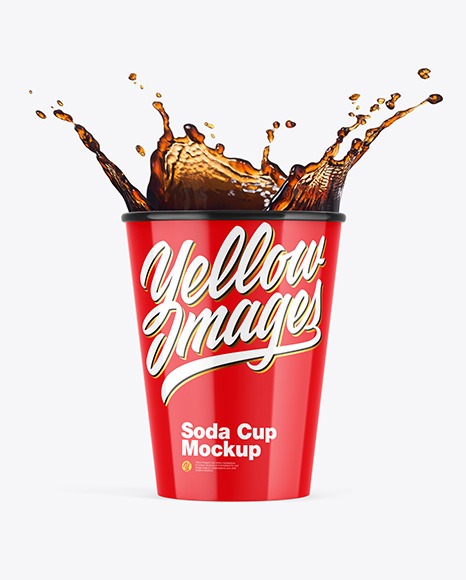 Glossy Soda Cup w/ Splash Mockup