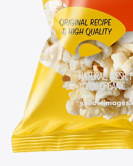 Plastic Bag With Popcorn Mockup