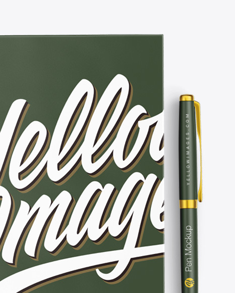 Matte Notebook With Pen Mockup