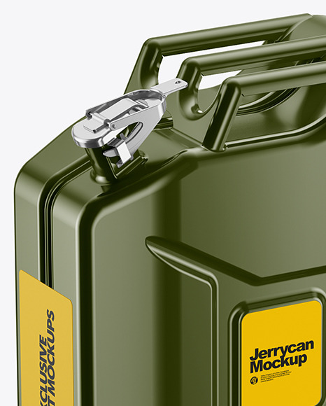 Fuel Jerrycan Mockup - Half Side View (High-Angle Shot)