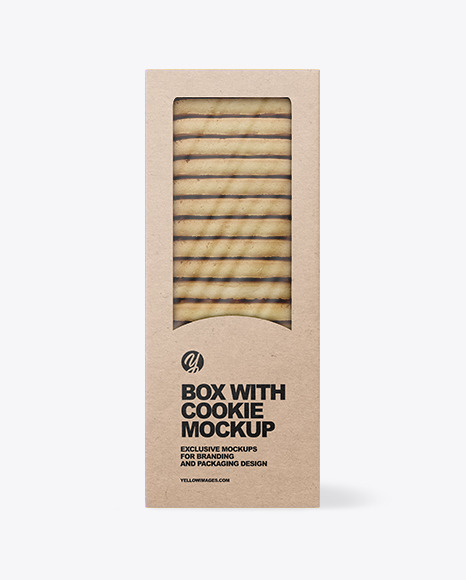Kraft Box with Cookie Mockup