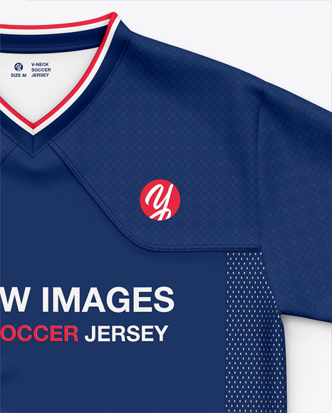 V-Neck Soccer Jersey / T-Shirt Mockup - Front Top View