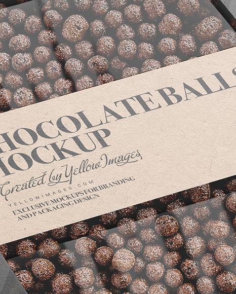 Kraft Paper Box With Chocolate Balls Mockup