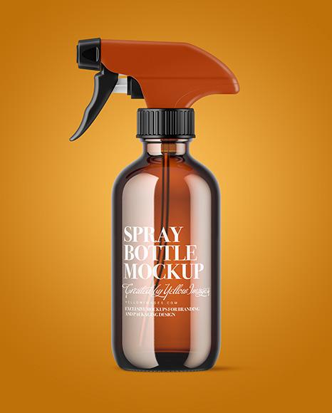 Amber Glass Spray Bottle Mockup